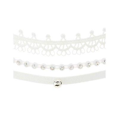 Plus Size Beaded & Crochet Choker Necklaces - 3 Pack