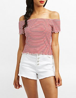 Ribbed & Striped Off-The-Shoulder Top