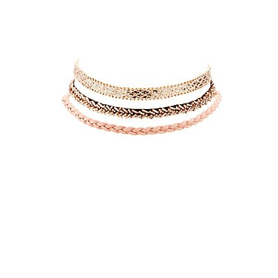 Plus Size Beaded, Braided & Sequin Choker Necklaces - 3 Pack