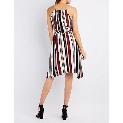 Striped Bib Neck Sharkbite Dress