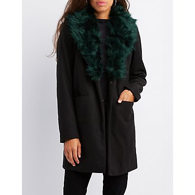 Faux Fur-Trim Longline Coat