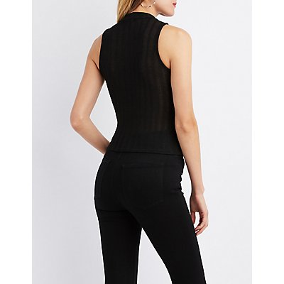 Ribbed Mock Neck Corset-Detail Crop Top