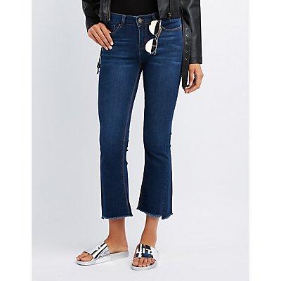 Mid-Rise Flared Step Hem Jeans