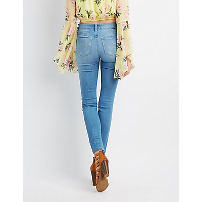 Destroyed Low-Rise Skinny Jeans