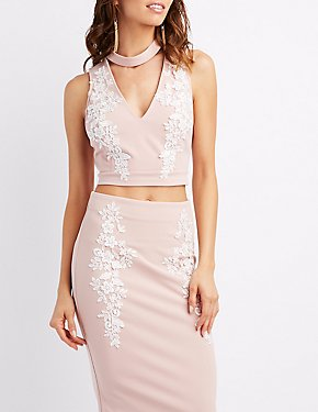 Embroidered Choker Neck Crop Top