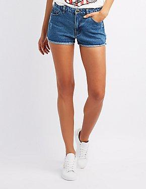 High-Rise Denim Cuffed Shorts