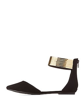 Metal-Trim Pointed Toe D'Orsay Flats