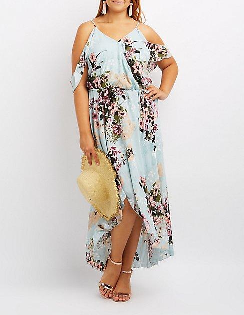 Plus Size Floral Surplice Cold Shoulder Maxi Dress ...
