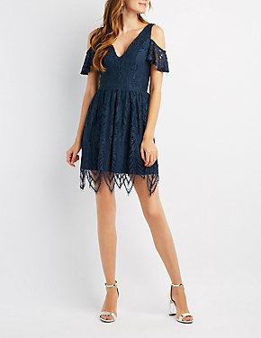 Lace Cold Shoulder Skater Dress
