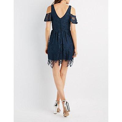 Lace Cold Shoulder Skater Dress