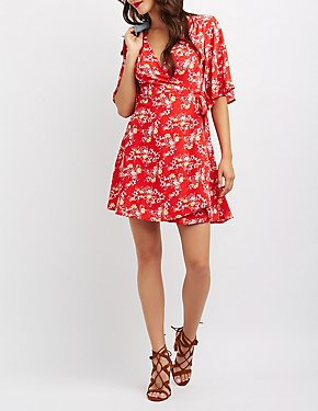 Floral Wrap Tie Skater Dress