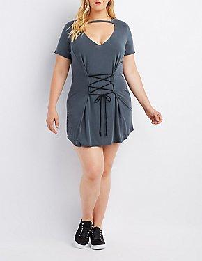 Plus Size Lace-Up Corset Dress