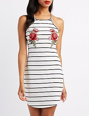 Striped Embroidered Bodycon Dress