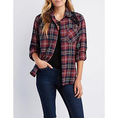Plaid Button-Up Lace-Up Detail Shirt