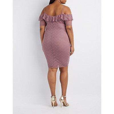 Plus Size Lace Ruffle-Trim Cold Shoulder Dress