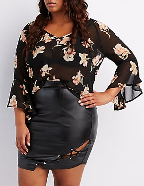 Plus Size Floral Bell Sleeve Top