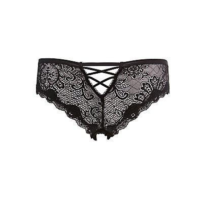 Lace Lattice-Back Cheeky Panties