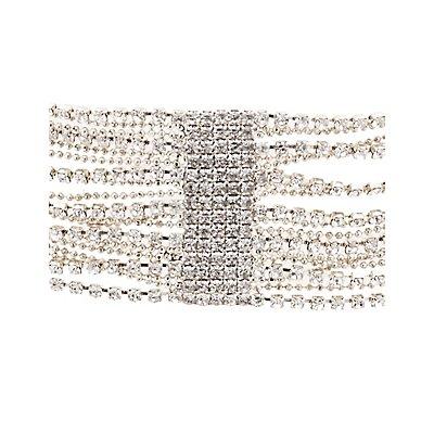 Plus Size Crystal Multistrand Choker Necklace
