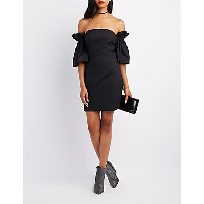 Ruffle-Trim Off-The-Shoulder Shift Dress