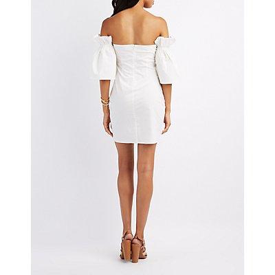 Poplin Off-The-Shoulder Sheath Dress