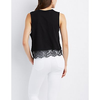 Graphic Lace-Trim Tank Top