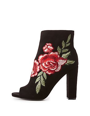 Wide Width Rose Embroidered Peep Toe Ankle Boots