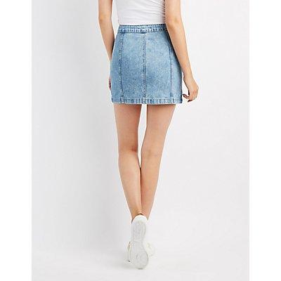 Button-Up Denim Mini Skirt