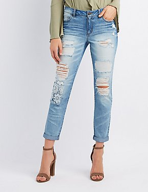 Refuge Crochet-Trim Destroyed Skinny Jeans