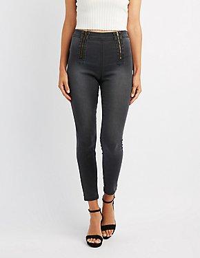 Refuge Zipper-Trim Hi-Rise Skinny Jeans