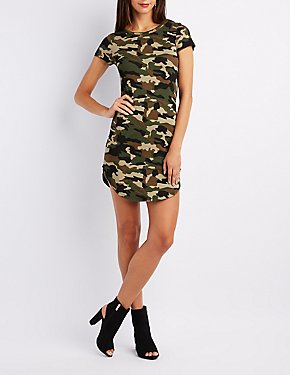 Camo Crew Neck Bodycon Dress