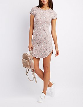 Floral Crew Neck Bodycon Dress