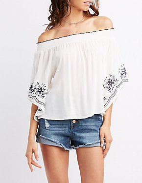 Embroidered Sleeve Off-The-Shoulder Top
