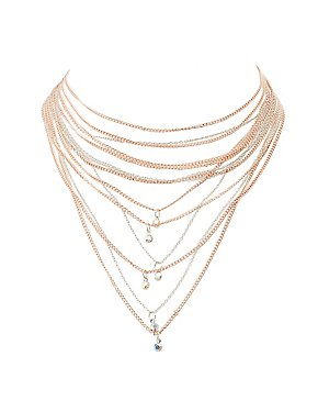 Embellished Rhinestone Layered Necklace