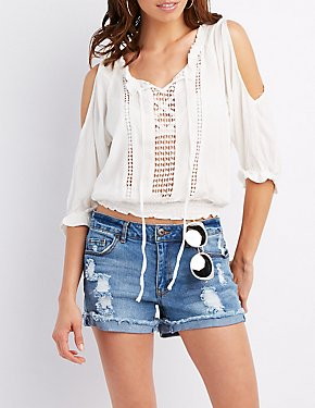 Crochet Inset Cold Shoulder Top