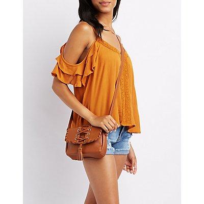 Lace-Up Tassel Crossbody Bag