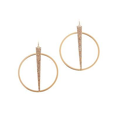 Rhinestone Spike Hoop Earrings