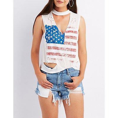 American Flag Choker Neck Tank Top