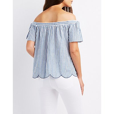 Embroidered Off-The-Shoulder Striped Top