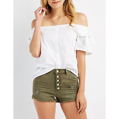Tied Off-The-Shoulder Button-Up Top