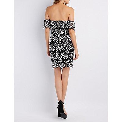 Crochet Off-The-Shoulder Bodycon Dress