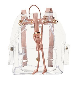 Clear & Faux Leather Backpack
