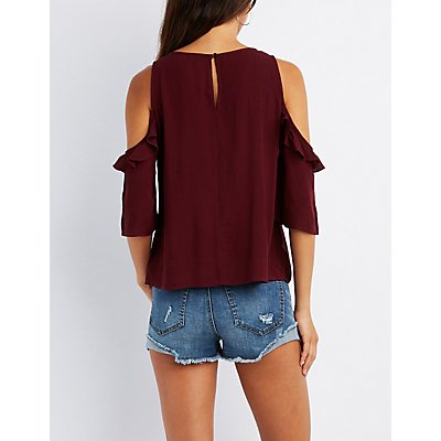 Embroidered Ruffle Cold Shoulder Top