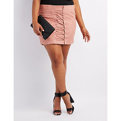 Plus Size Faux Suede Lace-Up Skirt
