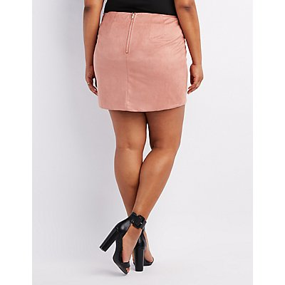 Plus Size Faux Suede Lace-Up Skirt