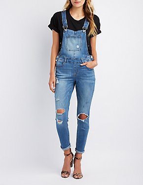 Refuge Destroyed Denim Overalls