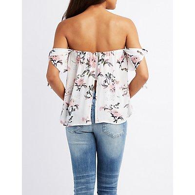 Floral Tie-Sleeve Off-The-Shoulder Top