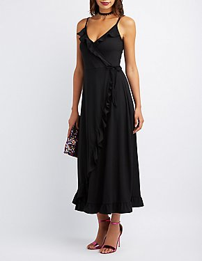 Ruffle-Trim Maxi Wrap Dress