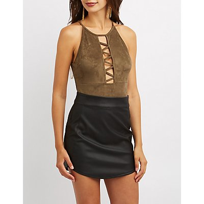 Faux Suede Bib Neck Caged Bodysuit