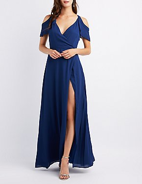 Cold Shoulder Ruffle Surplice Maxi Dress