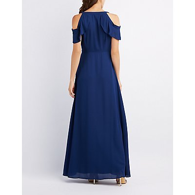 Cold Shoulder Ruffle Surplice Maxi Dress